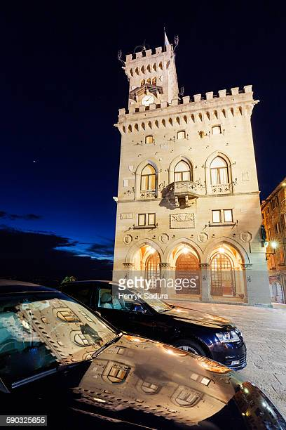 palazzo pubblico on liberty square in san marino - republic of san marino stock photos and pictures