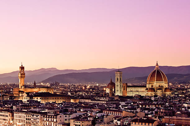 """Palazzo Vecchio And Duomo, Florence Skyline"" Wall Art"