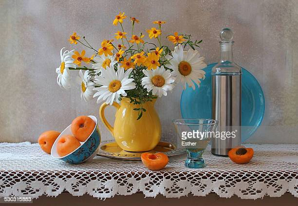 Pale Blue Plate and Apricots