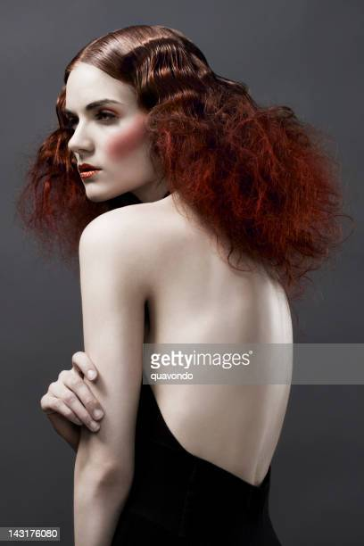 Avant Garde Beauty Portrait, Fashion Model in Hairstyle and Makeup