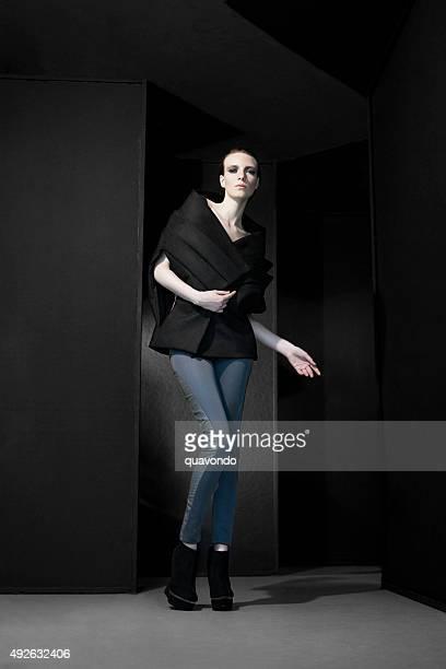 Pale fashion model posing