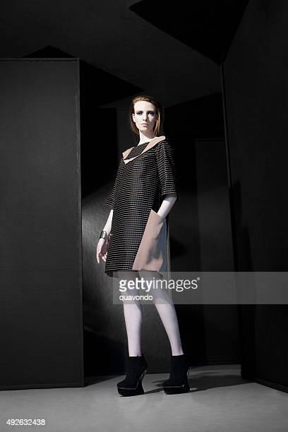 Pale fashion model showing off a dress