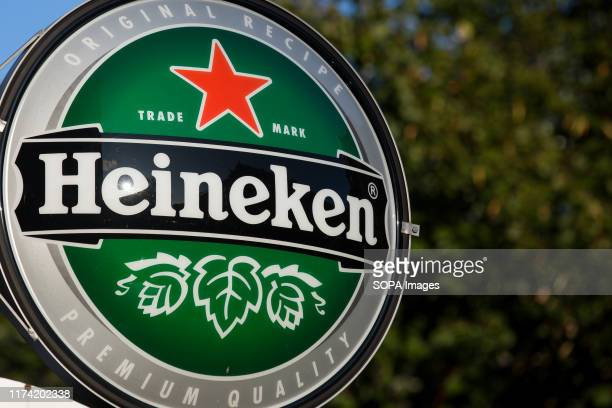Pale lager beer produced by the Dutch brewing company Heineken logo seen in Gothenburg.
