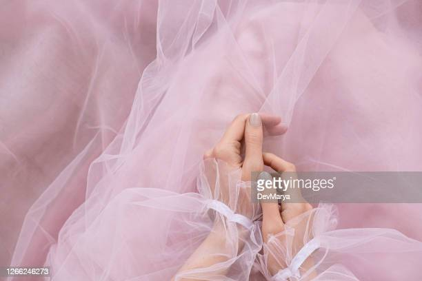 pale pink nail design female hands