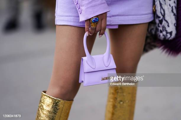 A pale purple Jacquemus mini bag is seen during New York Fashion Week Fall Winter 2020 on February 12 2020 in New York City
