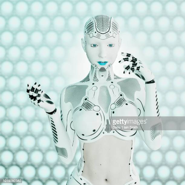 Pale white and blue female cyborg strikes pose and gestures in front of techno background