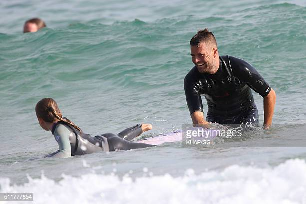Paleo advocate and celebrity chef Pete Evans enjoys surfing at Bondi Beach with his daugters Chilli and Indii on February 22 2016 in Sydney Australia