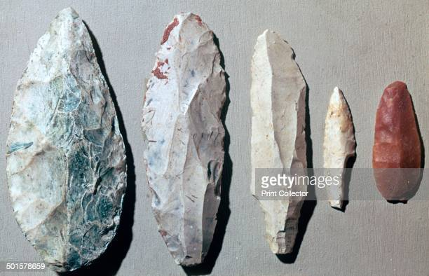 Paleolithic flint tools From the British Museum's collection From left to right from Moravia Kent's Cavern Cat's hole cave Bordeilles Laugerie Haute