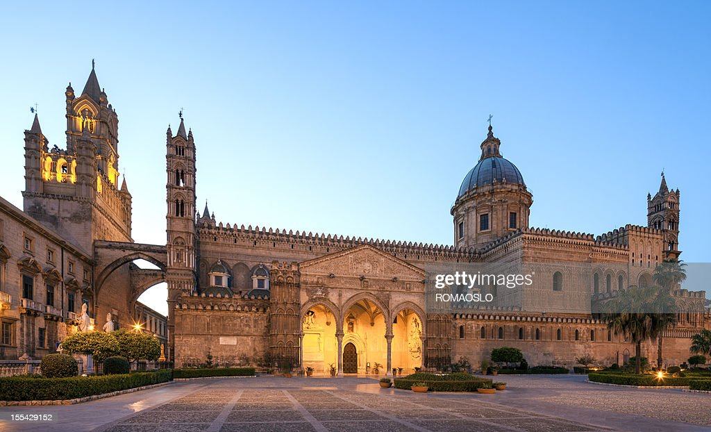 Palermo Cathedral by night, Sicily Italy : Stock Photo
