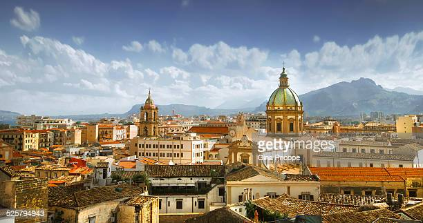 palermo cityscape - palermo sicily stock photos and pictures