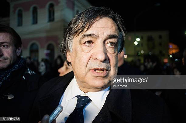Palermo Dec 20 2013 Leoluca Orlando mayor of Palermo gathered at the demonstration organized to show support and demand better security measures for...
