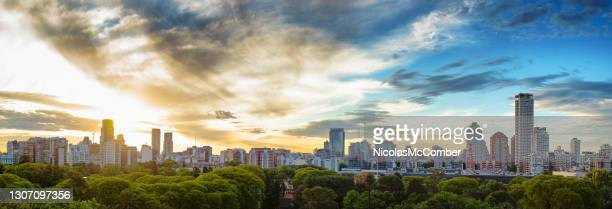 palermo elevated skyliny panorama at sunset - 20th century style stock pictures, royalty-free photos & images