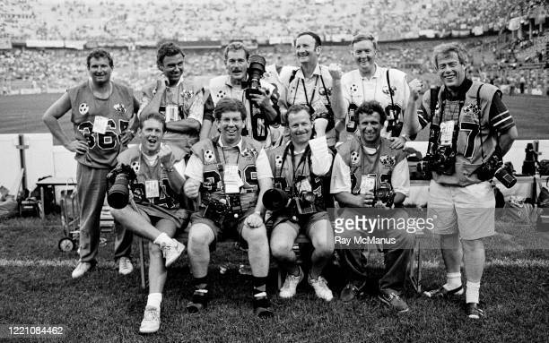 Palermo , Italy - 21 June 1990; Members of the travelling Irish press corps, back row, from left, RTÉ sound engineer Pat Murray, Peter Thursfield of...