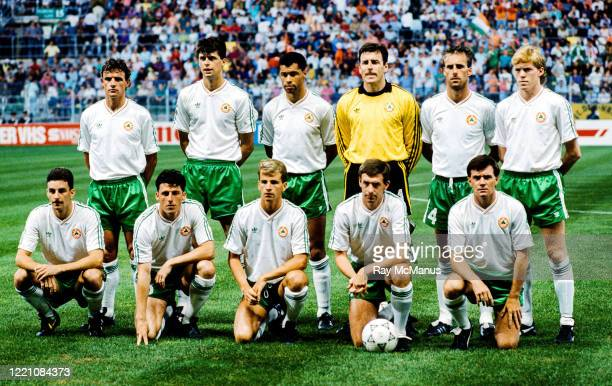 Palermo , Italy - 21 June 1990; The Republic of Ireland team, back row, from left, Kevin Moran, Niall Quinn, Paul mcGrath, Packie Bonner, Mick...