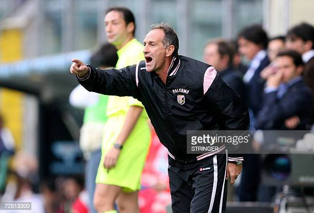 Palermo's trainer Francesco Guidolin shouts during their Italian Serie A football match against Torino at Palermo's Barbera Stadium 12 November 2006...