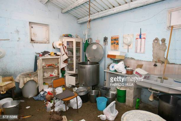 Picture taken 11 April 2006 in Corleone of the cheese dairy of the hut where Sicily Mafia's top boss Bernardo Provenzano had been arrested Bernardo...