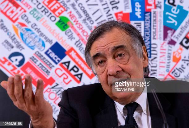 Palermo mayor Leoluca Orlando speaks during a meeting with the Foreign Press on January 9 2019 in Rome Orlando is one of the mayors of three large...