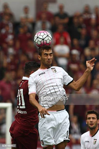 Palermo midfielder Ivajlo Cocev heads the ball during the Serie A football match n6 TORINO PALERMO on 27/09/15 at the Stadio Olimpico in Turin Italy...