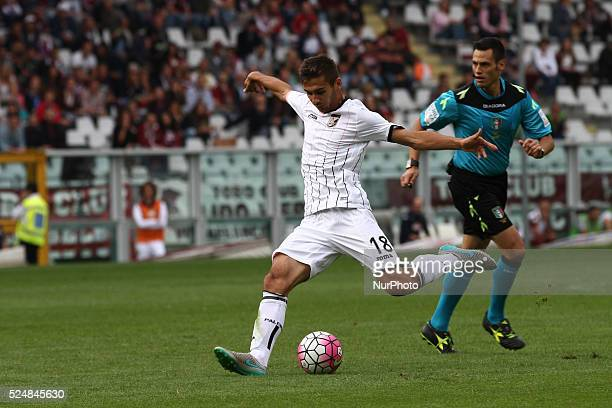 Palermo midfielder Ivajlo Cocev shoots the ball during the Serie A football match n6 TORINO PALERMO on 27/09/15 at the Stadio Olimpico in Turin Italy...