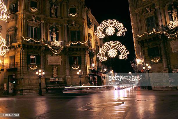 Palermo night scene in Christmas lights.
