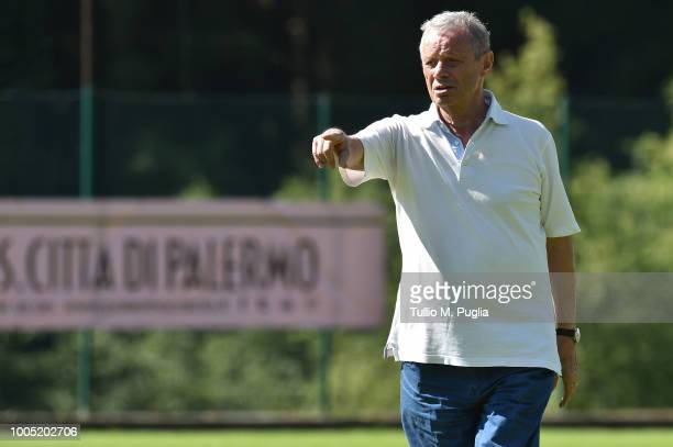Palermo owner Maurizio Zamparini looks on during a training session at the US Citta' di Palermo training camp on July 25, 2018 in Belluno, Italy.