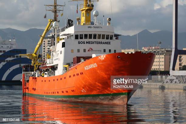 Palermo the landing of 600 migrants to the Port of Palermo by Aquarius ship mostly children In the picture the Aquarius ship