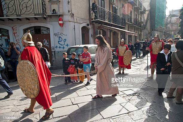 CONTENT] PalermoSicily Italy 31 March 2013 Reenactment of Christ's crucifixion