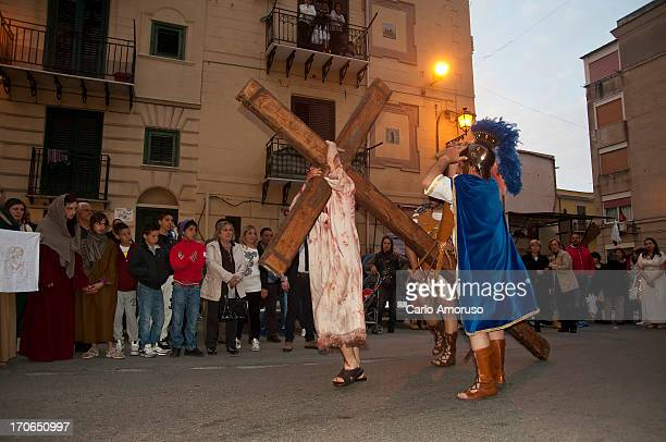 CONTENT] PalermoSicily Italy 31 March 2013 Reenactment of Christ's crucifixion during Easter celebrations