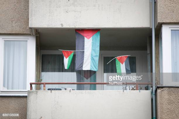 Palestinan flags are seen hanging on a balcony in the Kreuzberg disctrict in Berlin on 13 February 2017