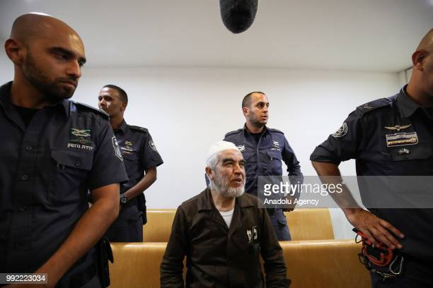 Palestine Islamic Movement Leader Raed Salah appears in court during his trial at Haifa Criminal Court of Peace in Haifa Israel on July 05 2018