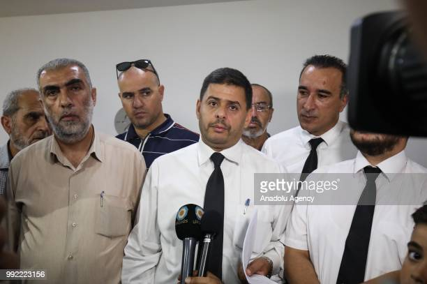 Palestine Islamic Movement Leader Raed Salah's lawyer Khaled Zabarka holds a press conference after Salah's trial at Haifa Criminal Court of Peace in...
