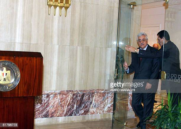 Palestine Liberation Organisation Chairman Mahmud Abbas arrives for a press conference after meeting with Egyptian president Hosni Mubarak in Cairo...