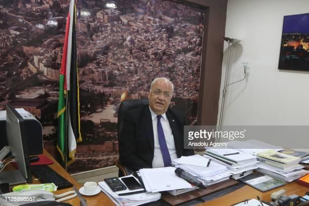 Palestine Liberation Organization's SecretaryGeneral Saib Ureykat speaks to media in Ramallah West Bank on February 20 2019