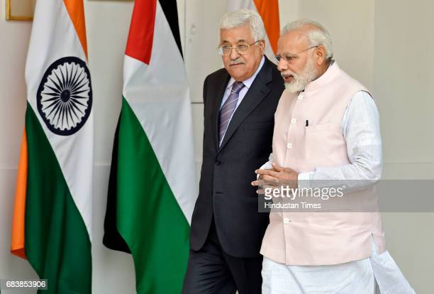 Palestine President Mahmoud Abbas and Prime Minister Narendra Modi prior to a meeting at Hydrabad House on May 16 2017 in New Delhi India President...