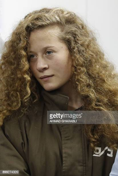 Palestinian Ahed Tamimi 16yearold prominent campaigner against Israel's occupation appears at a military court at the Israelirun Ofer prison in the...