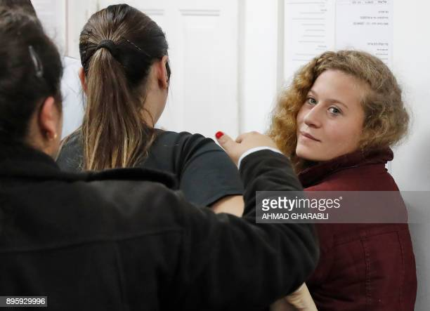 Palestinian Ahed Tamimi a wellknown campaigner against Israel's occupation appears at a military court at the Israelirun Ofer prison in the West Bank...