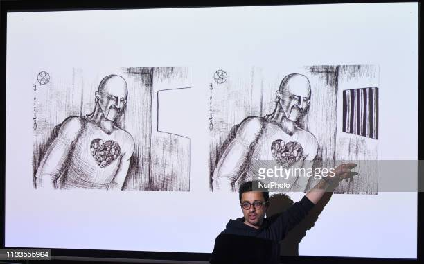 Palestinian artist and award-winning political cartoonist, Mohammad Sabaaneh, during the 'Art & Resistance in Palestine' event hosted by Trinity...