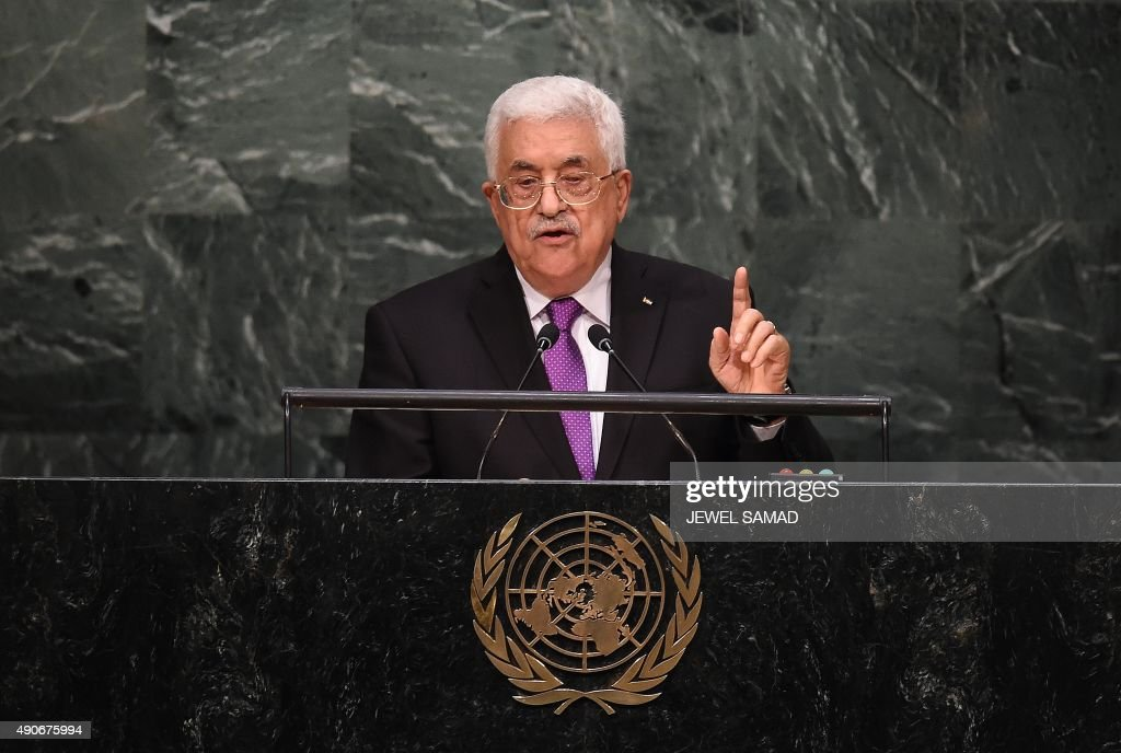 Palestinian Authority president Mahmoud Abbas addresses the 70th Session of the United Nations General Assembly at the UN in New York on September 30, 2015. AFP PHOTO/JEWEL SAMAD / AFP PHOTO / Jewel SAMAD