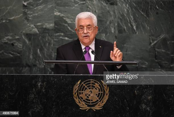 Palestinian Authority president Mahmoud Abbas addresses the 70th Session of the United Nations General Assembly at the UN in New York on September 30...