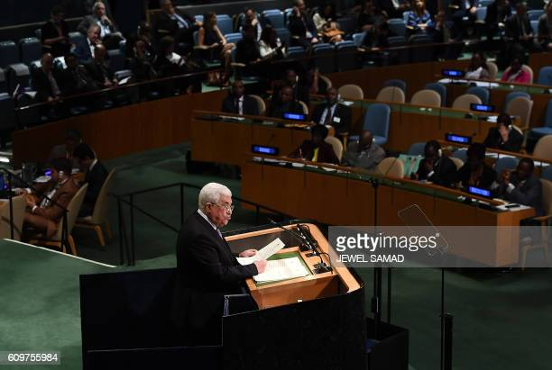 Palestinian Authority President Mahmoud Abbas addresses the 71st session of United Nations General Assembly at the UN headquarters in New York on...