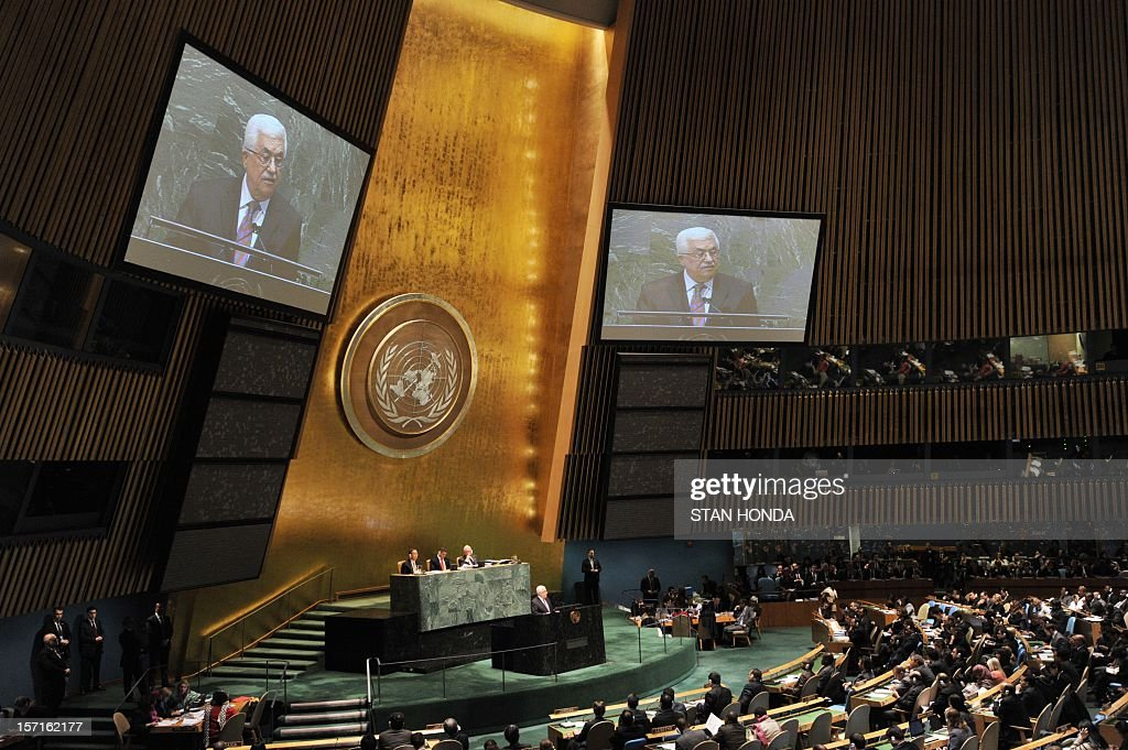 Palestinian Authority President Mahmoud Abbas speaks to the United Nations General Assembly before the body votes on a resolution to upgrade the status of the Palestinian Authority to a nonmember observer state November 29, 2012 at UN headquarters in New York. AFP PHOTO/Stan HONDA
