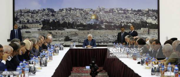 Palestinian Authority President Mahmud Abbas chairs a meeting of the Palestinian leadership in the West Bank city of Ramallah on September 25 2017...