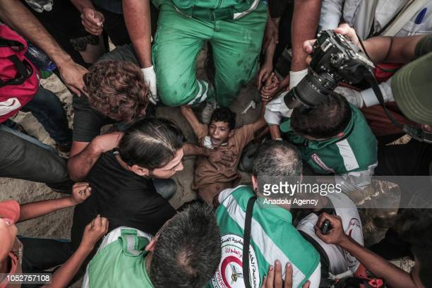 Palestinian boy gets injured on his leg on Israeli forces' intervention during the maritime demonstration to break the Gaza blockade by sea with...