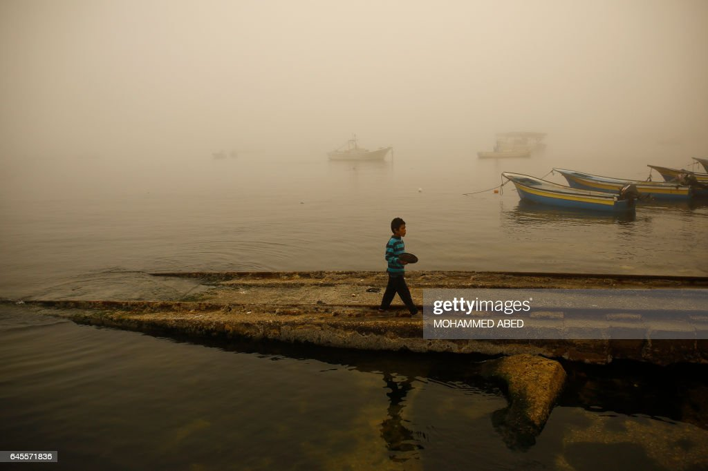 TOPSHOT-PALESTINIAN-GAZA-WEATHER : News Photo