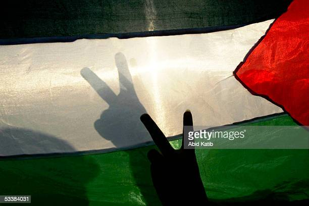Palestinian boys flash vsign next to a Palestinain national flag in front of the Israeli settlement of Navi Dakalem during early celebrations of...