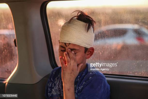 Palestinian child gets injured after Israeli intervention during a protest within the Great March of Return demonstrations on the IsraelGaza border...