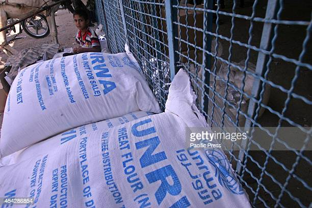 Palestinian child sits near aid sacks from the UNRWA after war ended officially in Rafah Southern Gaza strip