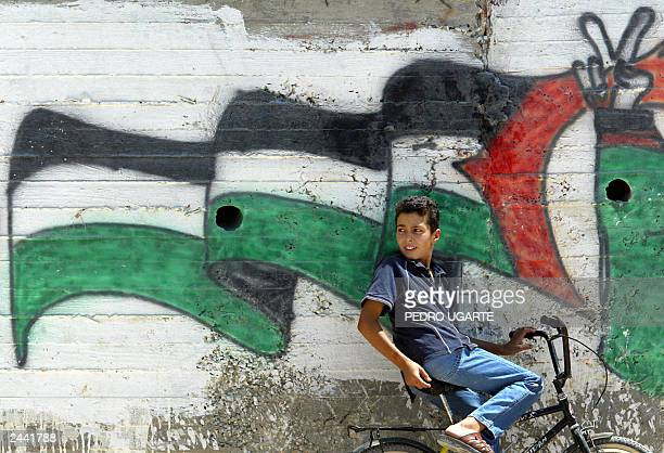 A Palestinian child stands next to a painting of the Palestinian flag in the West Bank village of Abu Dis in the outskirts of east Jerusalem 27...