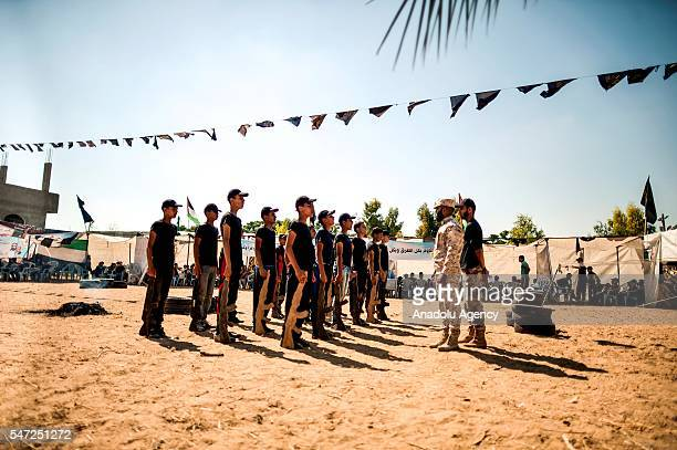 Palestinian children attend Islamic Jihad Movement's military and religious based summer training camp in Khan Yunis Gaza on July 14 2016