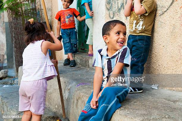 palestinian children in jenin refugee camp - palestinian stock photos and pictures